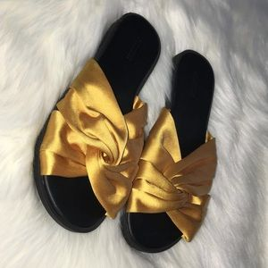 Forever 21 Yellow/Gold Satin Knotted Slides